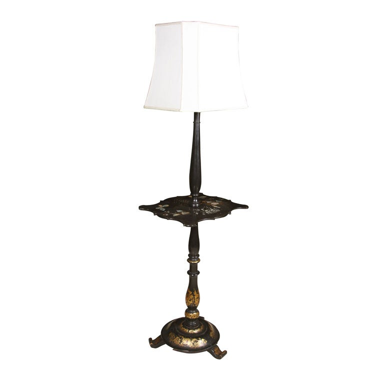 mother of pearl inlaid ebonized table lamp at 1stdibs. Black Bedroom Furniture Sets. Home Design Ideas