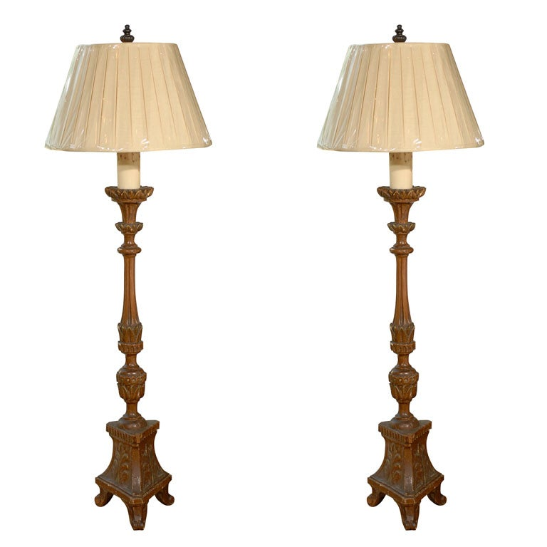 19th century french lime wood candlestick made into floor lamps for 19th century french lime wood candlestick made into floor lamps for sale aloadofball Image collections