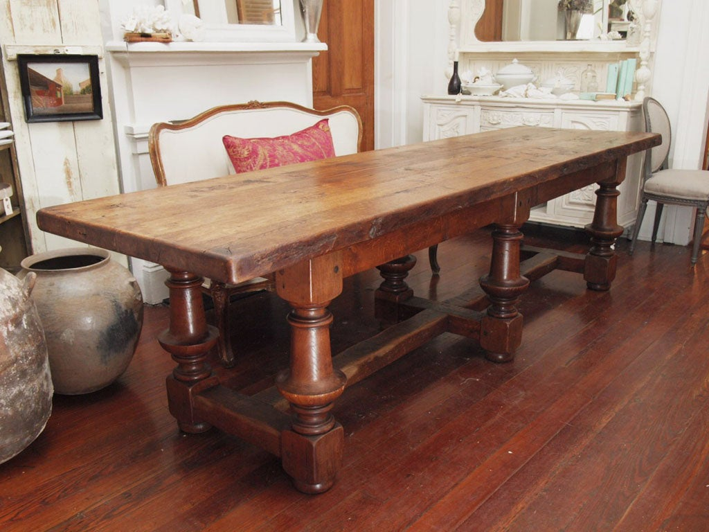 Antique french harvest or library table 10 ft long at for 10 ft dining room table