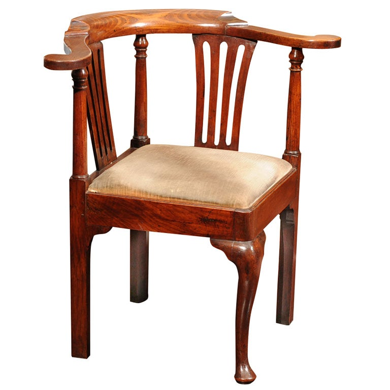 Georgian Fruitwood Corner Chair With Drop Seat At 1stdibs