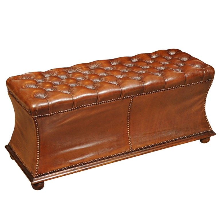 Rectangular Tufted Leather Ottoman At 1stdibs