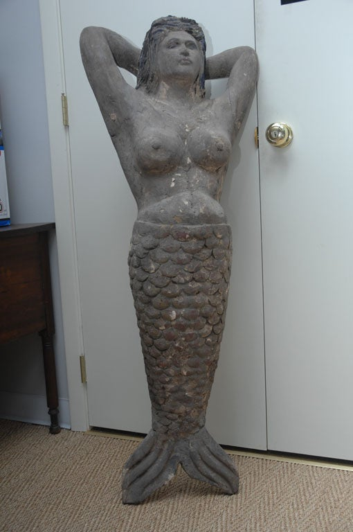 Hand Carved Wooden Mermaid At 1stdibs
