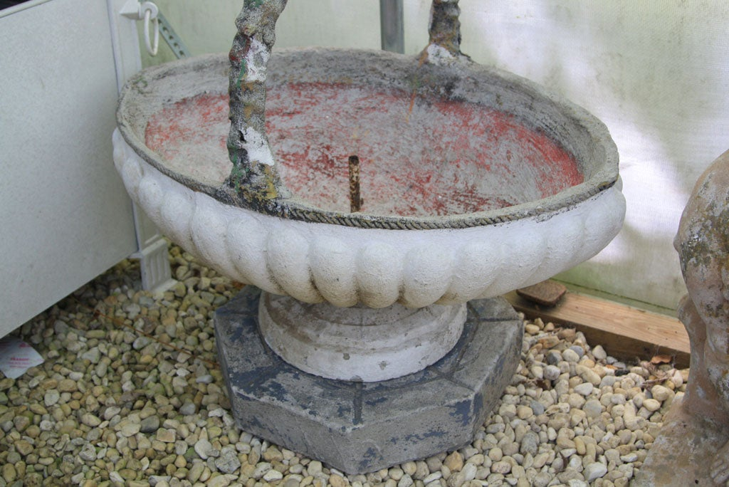 French Painted Cement Basket Planter For Sale