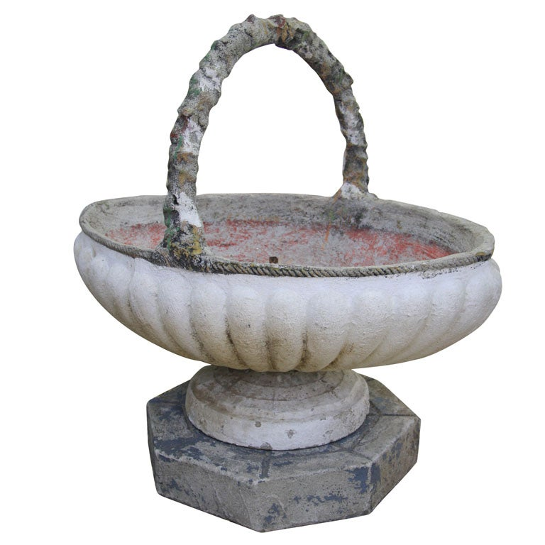 Painted Cement Basket Planter For Sale