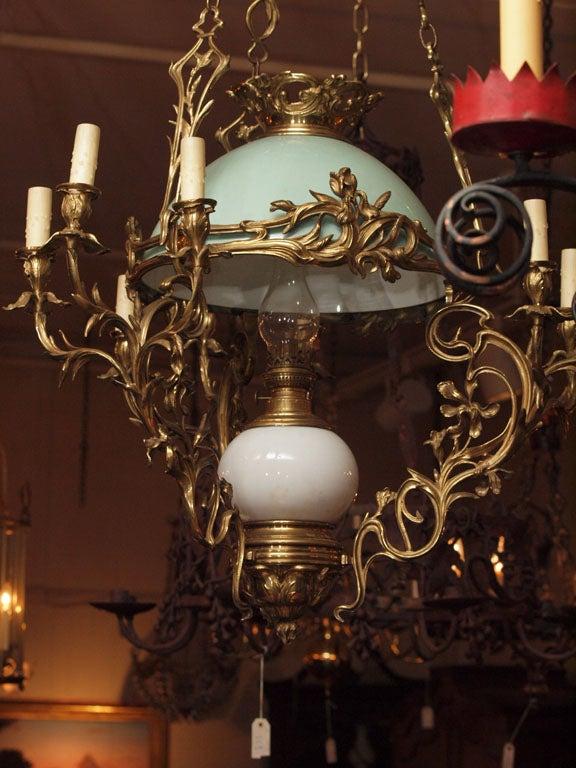antique french oil lamp chandelier at 1stdibs. Black Bedroom Furniture Sets. Home Design Ideas