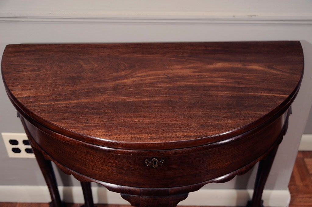18th Century and Earlier 18th Century Irish Mahogany Demilune Card Table For Sale