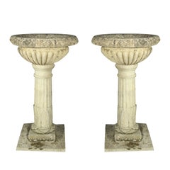 Pair of Tall 18th C Carved Limestone Urns owned by the Duke of Marlborough