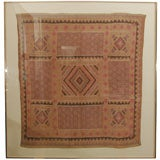Framed Asian Textile with Geometric Pattern Decoration