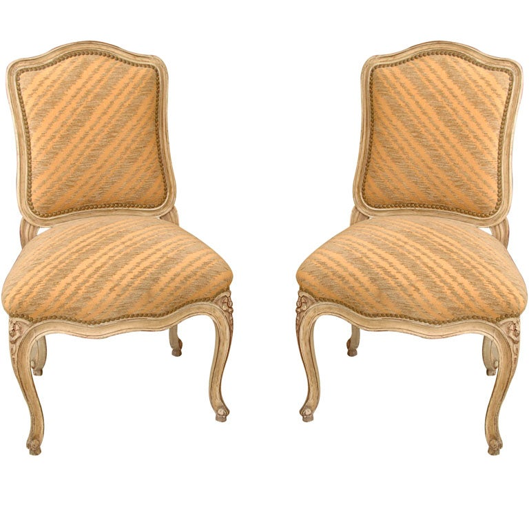 Pair of Maison Jansen French Painted Side Chairs