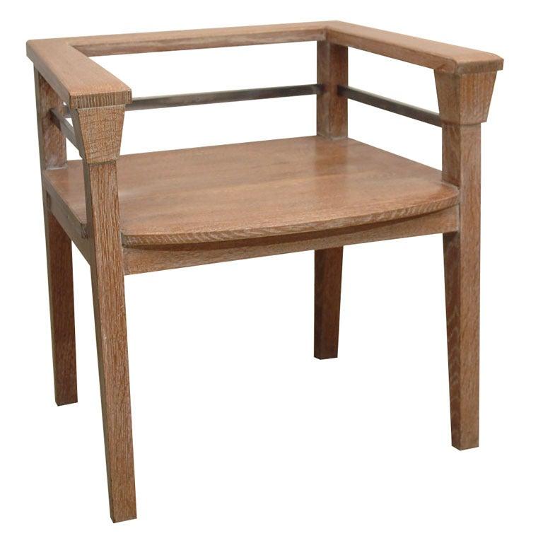 Cerused Oak and Steel Arm Chair by Juan Montoya