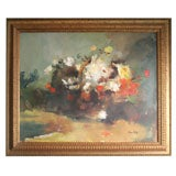 """Still Life with Flowers in a Basket"" by John Foote. Oil on Canvas."