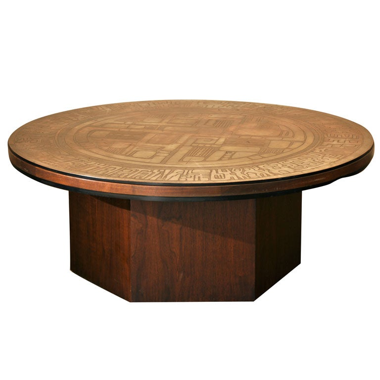 Italian Pressed Releif Pattern Copper And Walnut Coffee Table At 1stdibs