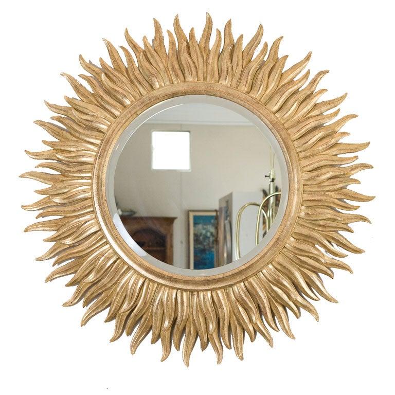 Large Gilt wood Sunburst Mirror 1