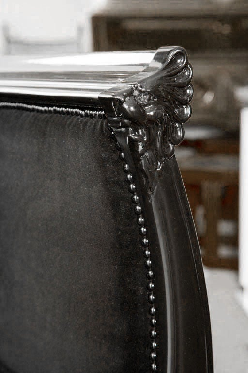 Victorian Chair In Black Lacquer And Belgian Velvet At 1stdibs