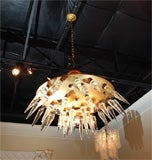 "Italian ""space age"" Murano and brass chandelier, circa 1950's image 2"