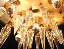 "Italian ""space age"" Murano and brass chandelier, circa 1950's image 3"
