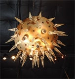 "Italian ""space age"" Murano and brass chandelier, circa 1950's image 6"