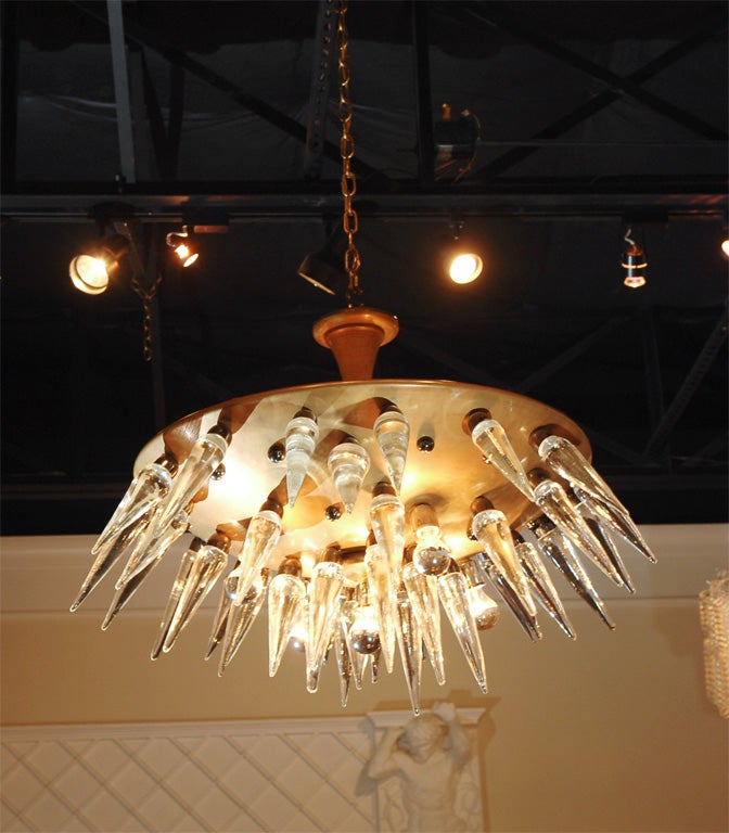 "Italian ""space age"" Murano and brass chandelier, circa 1950's 7"