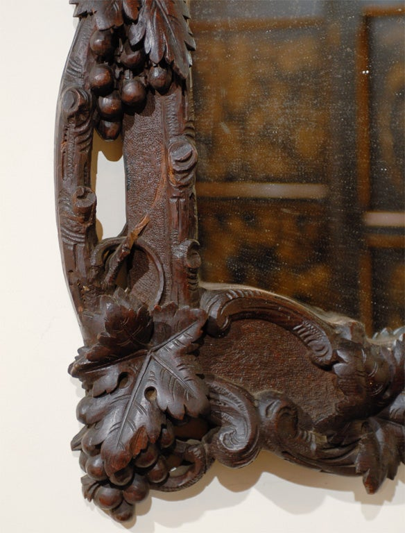 Large German Black Forest Carved Mirror with Bird Motif from the 19th Century For Sale 2