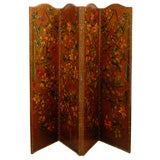 English Leather Screen Painted with Birds and Floral Decoration