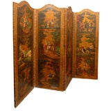 English 1880s Four-Fold Painted and Gilt Leather Screen with Pastoral Scenes