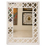 Large White Lacquered Faux Bamboo Mirror Palm Beach