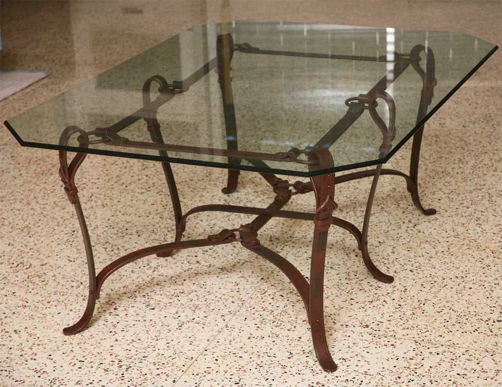 Rich hermes style faux leather wrought iron coffee table for Glass coffee table wrought iron legs