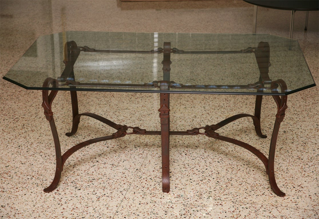 Rich hermes style faux leather wrought iron coffee table for Glass top coffee table with wrought iron legs