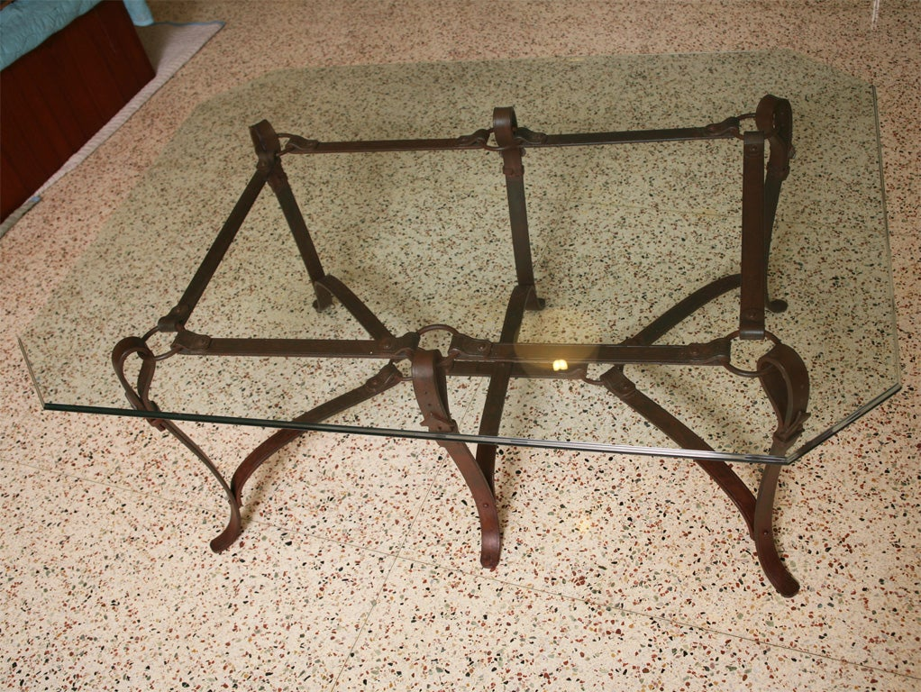 Rich Hermes Style Faux Leather Wrought Iron Coffee Table For Sale At