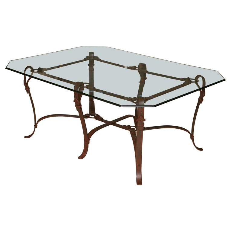 Rich Hermes Style Faux Leather Wrought Iron Coffee Table At Stdibs - Hermes coffee table