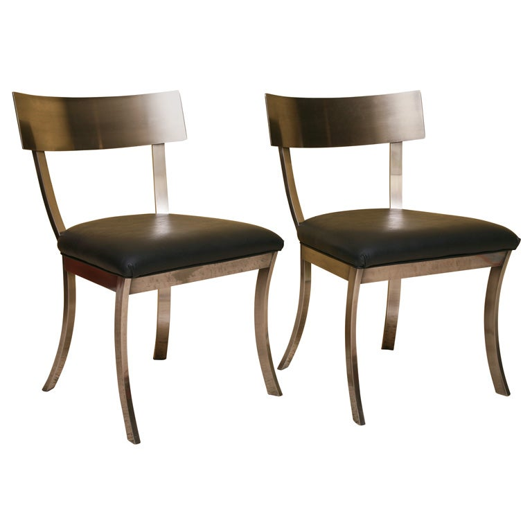 Sleek Steel Klismos Chairs Design Institute of America at  : x from 1stdibs.com size 768 x 768 jpeg 36kB