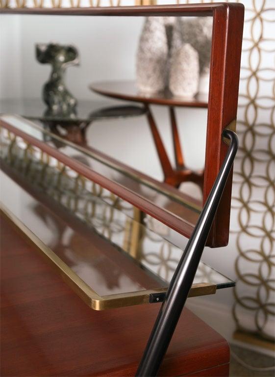 Mid-Century Modern Pair of Italian Modern Mahogany, Brass and Iron Sideboards, Silvio Cavatorta For Sale