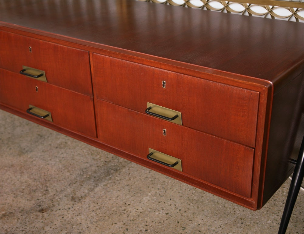 Pair of Italian Modern Mahogany, Brass and Iron Sideboards, Silvio Cavatorta In Excellent Condition For Sale In Miami, FL