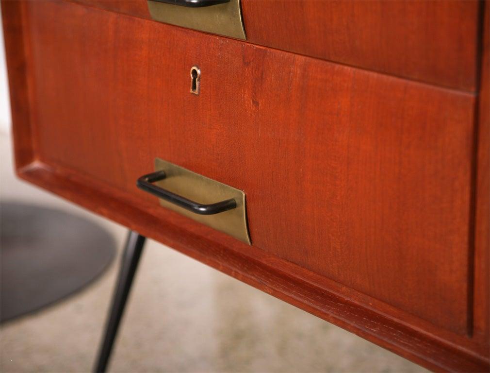 Pair of Italian Modern Mahogany, Brass and Iron Sideboards, Silvio Cavatorta For Sale 1