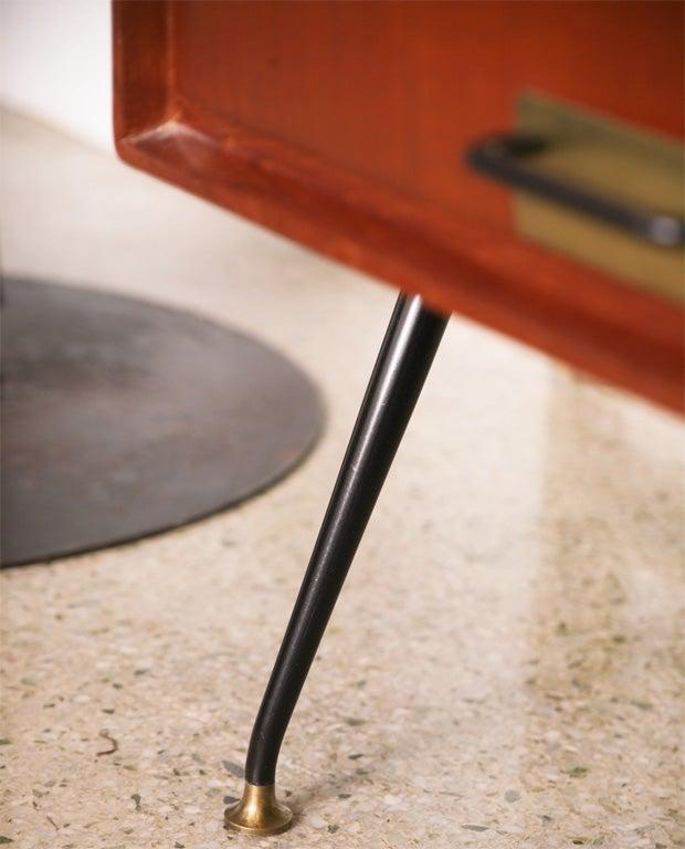 Pair of Italian Modern Mahogany, Brass and Iron Sideboards, Silvio Cavatorta For Sale 2