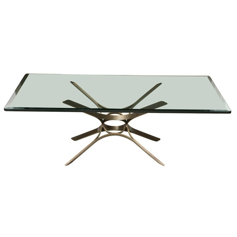 Roger Sprunger Bronze and Glass Low Table, by Dunbar