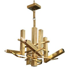 Superb Italian Modern Brass Eight-Light Chandelier, Gaetano Scolari