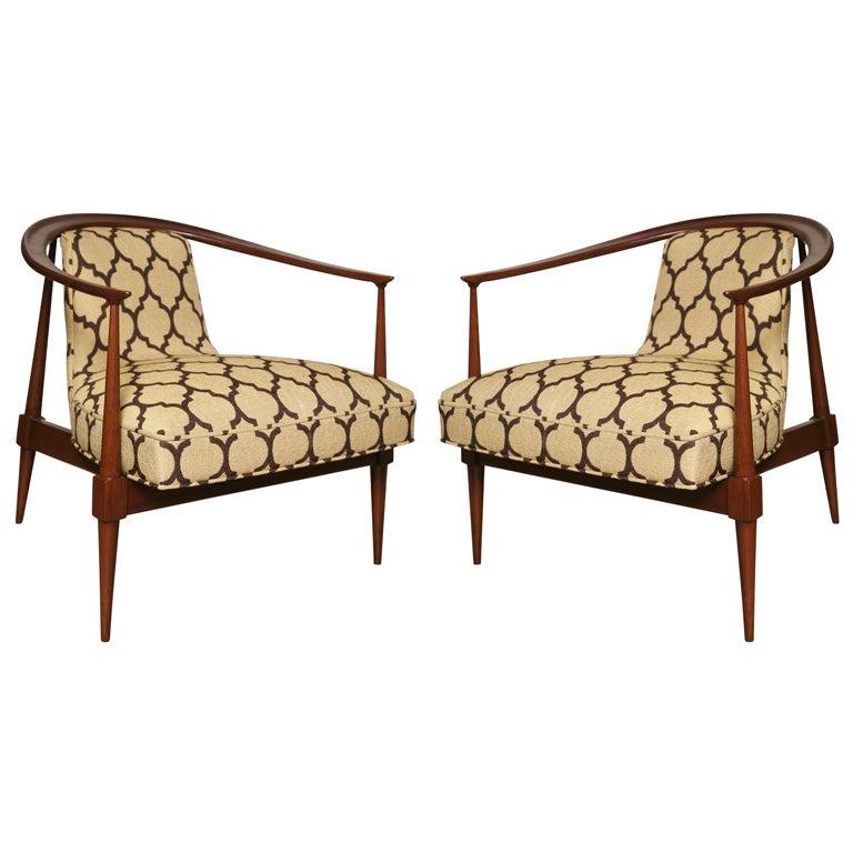 Pair of 60's Horseshoe Club Chairs