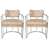 Pair of 70's Thayer Coggin Chrome Barrel Chairs