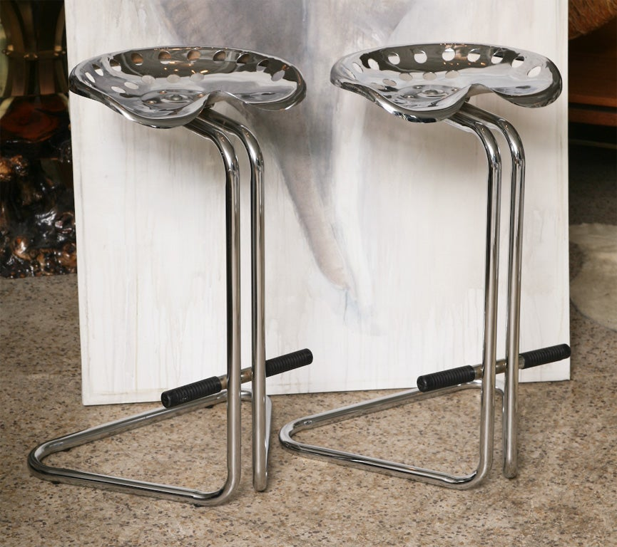 Chrome Tractor Seats : Pair of chrome tractor seat bar stools at stdibs