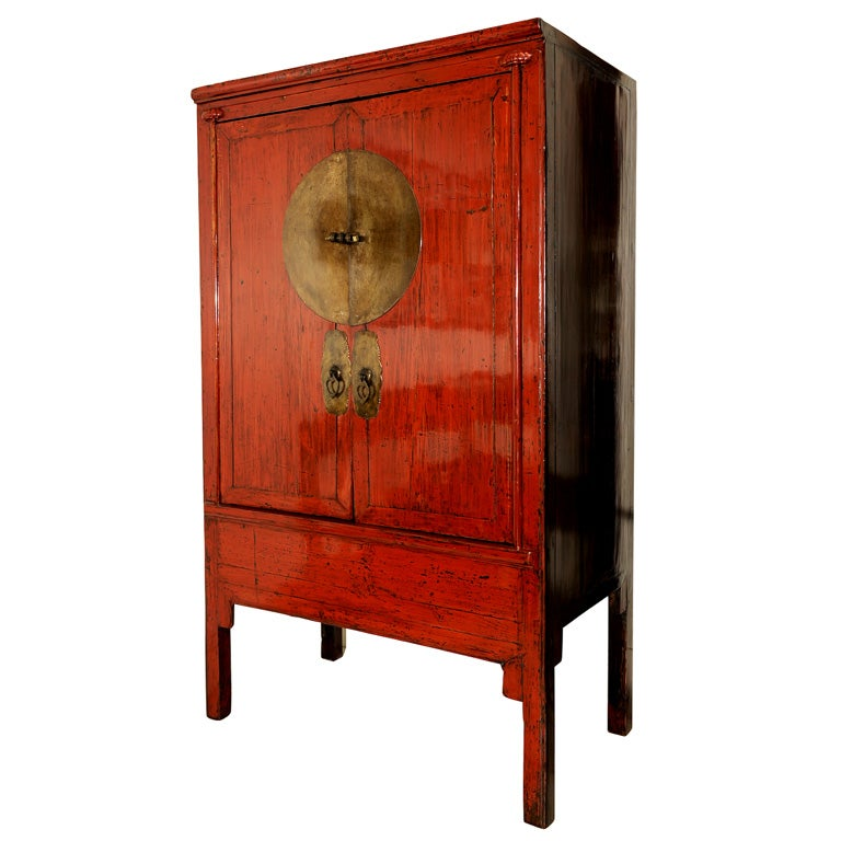 RED LACQUER CHINESE WEDDING CABINET at 1stdibs