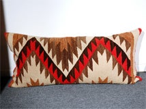 LARGE AUTHENTIC NAVAJO INDIAN WEAVING BOLSTER PILLOWS image 2
