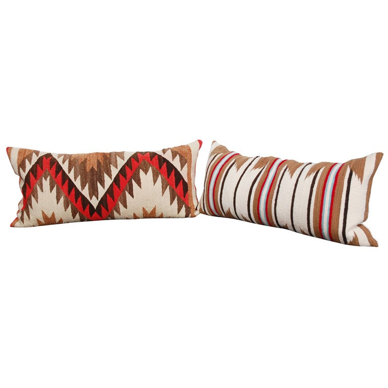 LARGE AUTHENTIC NAVAJO INDIAN WEAVING BOLSTER PILLOWS