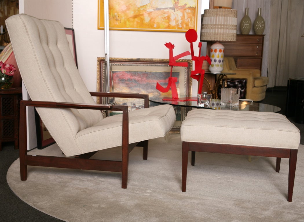Sculptural wood danish chair with ottoman newly upholstery cushions in a delectable warm tufted linen. <br /> This chair will suit your space with style. Incredible comfortable as well.