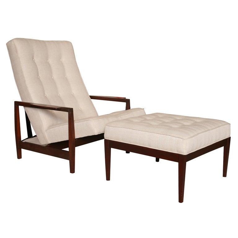 Danish Teak Chair with Ottoman