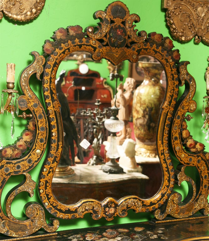 19th Century English Victorian Mother of Pearl Inlaid Vanity Dressing Table image 2