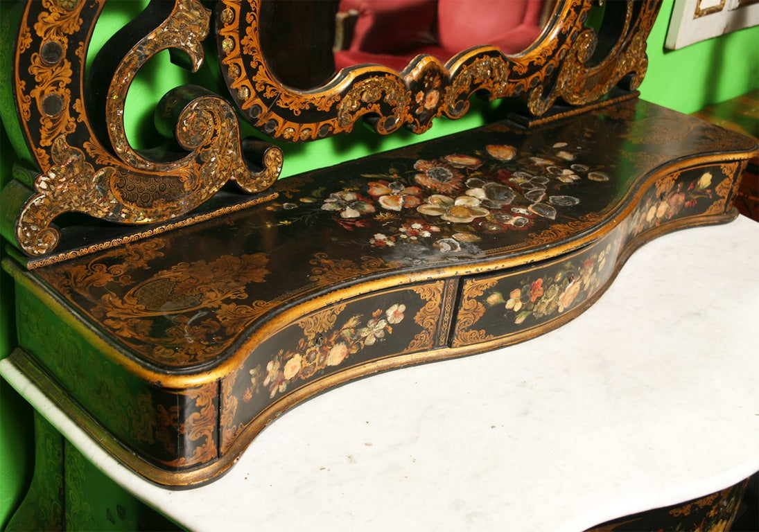 19th Century English Victorian Mother of Pearl Inlaid Vanity Dressing Table image 5