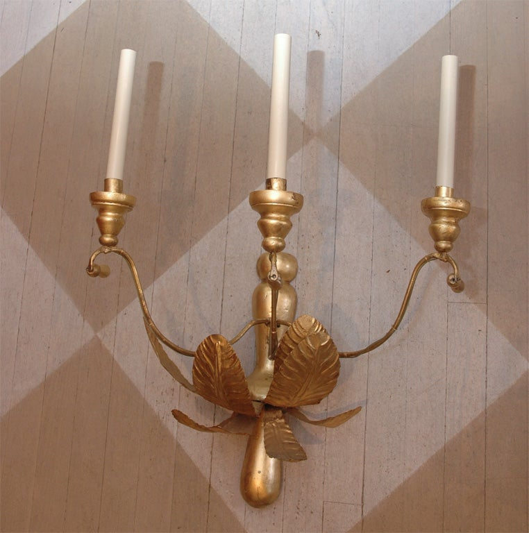 French Wooden Wall Lights : A Pair of French Circa 1920 Tole and Wooden Water Gilt Sconces For Sale at 1stdibs