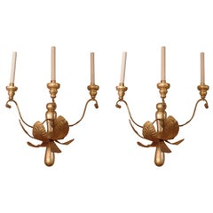 Pair of French Tole and Wooden Water Gilt Sconces, circa 1920