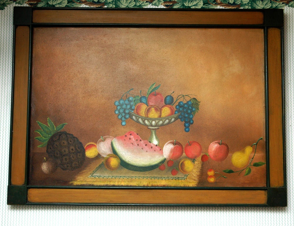 American 19th century still life painting of a compote of fruit on a table arranged with more fruit in a custom 20th century painted frame.